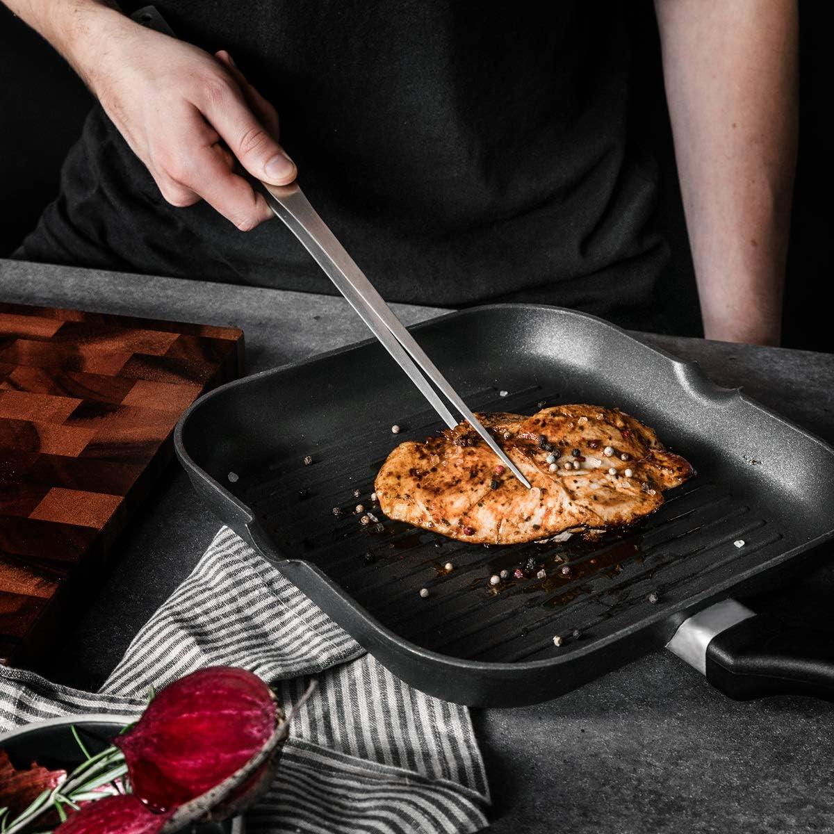 40cm lang Navaris Grillpinzette aus rostfreiem Edelstahl auch als Bratpinzette Servierpinzette K/üchenpinzette nutzbar Grill Fleischpinzette