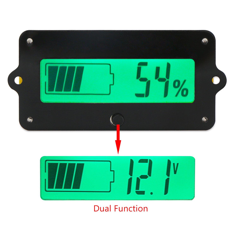 DC Battery Meter, DROK Digital Battery Voltage Capacity Percent Monitor Tester DC 8-63V Battery Reader 12V 24V 36V 48V LCD Lead Acid Battery Indicator Electric Quantity Detector for Car Vehicle