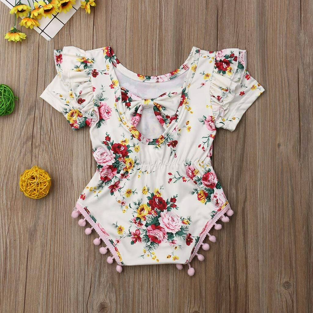 B Bone Cute Newborn Infant Baby Girl Cotton Rompers Floral Print Tassel Decor Jumpsuit Outfit Clothing