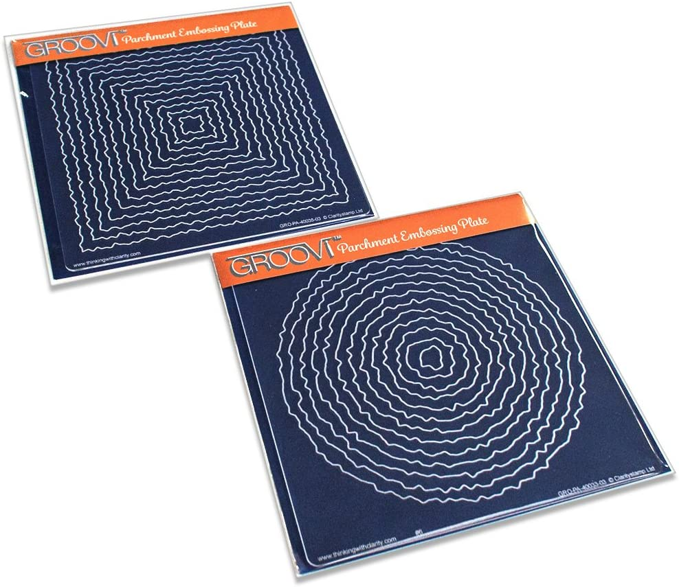 Deckel Groovi Platten 2er-Set Claritystamp Grundlegende Formen: Kreis /&Amp; Square