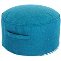 "Floor Sitting Cushion Footstool 15.7"" Round Seating Sofa Pouf Foot Leg Rest Step Stool Ottoman Pillow Chair with…"