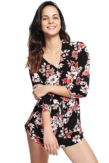 42cc3fdea9 Amazon.com  TheMogan Women s Floral V-Neck 3 4 Sleeve Romper Elastic ...