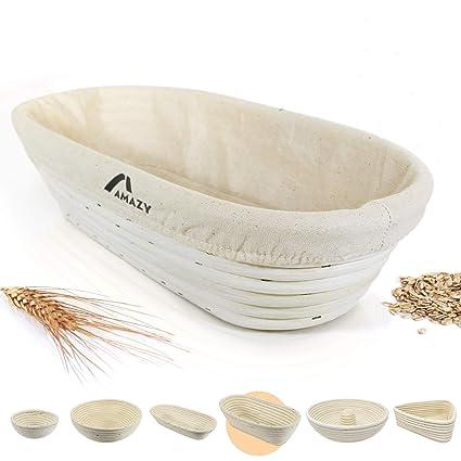 Amazy Banneton para pan – La ideal cesta para masa y fermentación de pan de mimbre