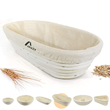 Amazy Banneton para pan - La ideal cesta para masa y fermentación de pan de mimbre natural (oval   ∅ 35 cm): Amazon.es: Hogar