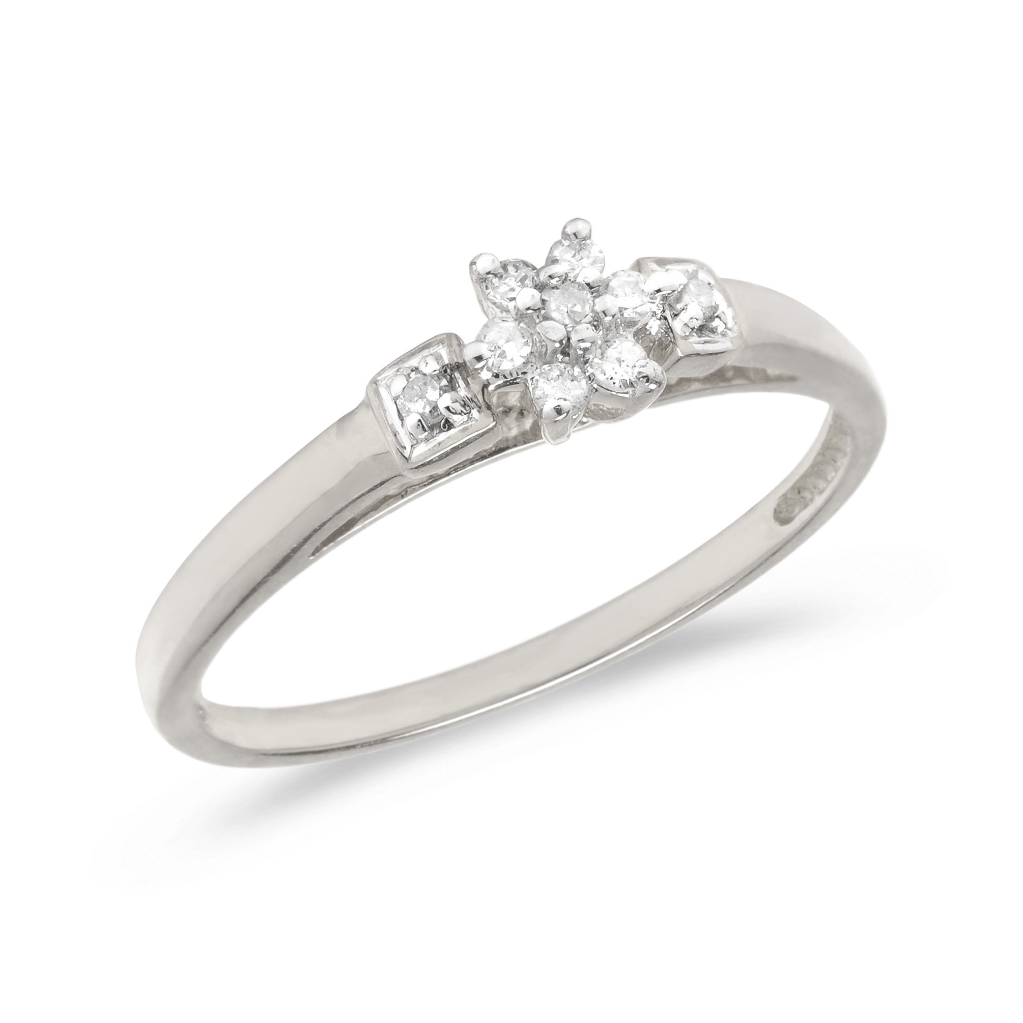 Sterling Silver Diamond Cluster Ring (Size 6)