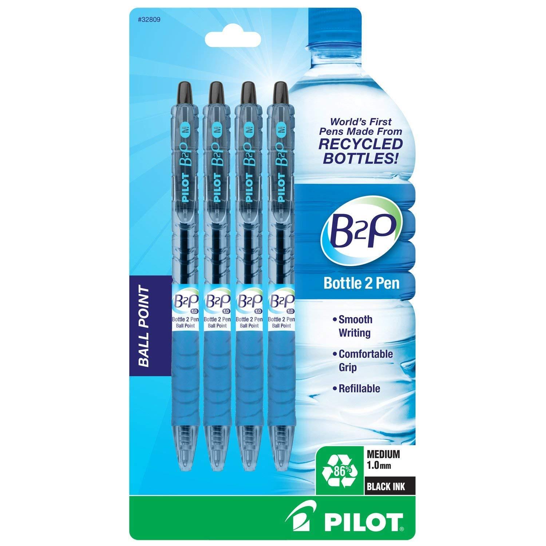 パイロット ボトル2ペン(B2P) - リトラクタブルボールペン リサイクルボトル製 4本パック 中細 ブラックボールペン 詰め替え可能 快適グリップ (合計8本)   B07MC5KKLX