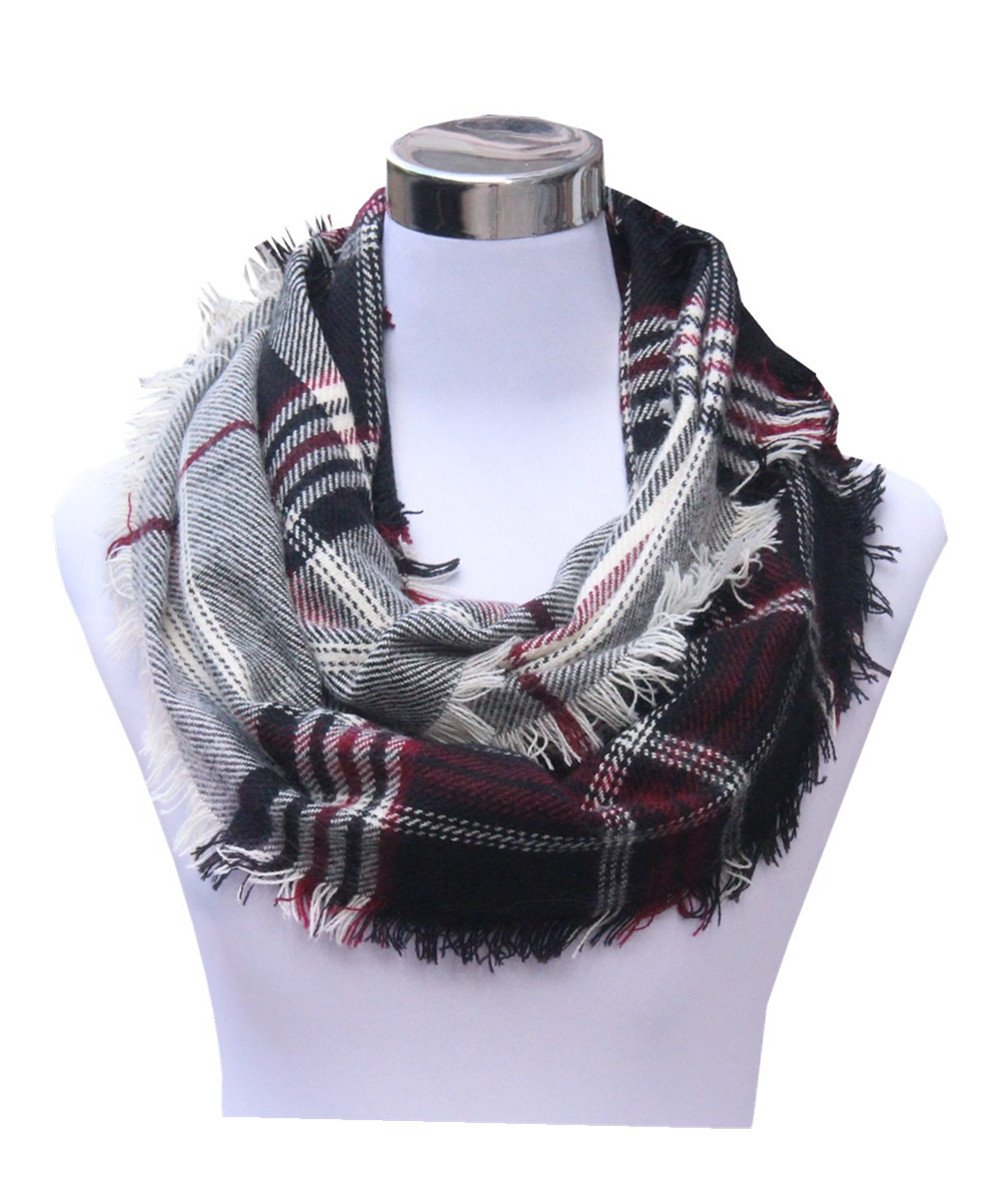 Lucky Leaf Women Winter Checked Pattern Cashmere Feel Warm Plaid Infinity Scarf (New-Black Red White)