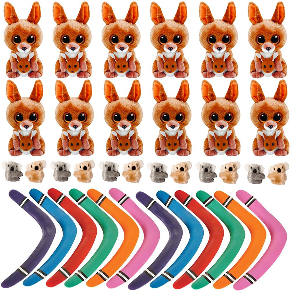 Shop Zoombie Australia Party Pack Outback Themed Party Supplies - Stuffed Kangaroos, Koala Clips, Boomerangs (12 Sets)