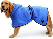 BONAWEN Dog Bathrobe Soft Super Absorbent Luxuriously 100% Microfiber Dog Drying Towel Robe with Hood/Belt for Large,Medium,Small Dogs