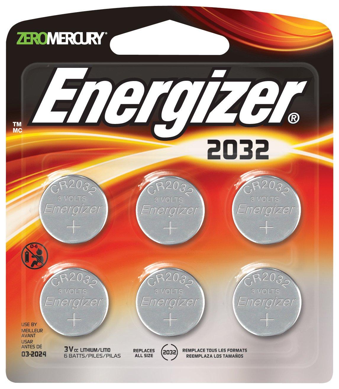 Energizer3 Volt Watch Batteries, Lithium 3v CR2032 Battery (6 Count) 2032BP-6