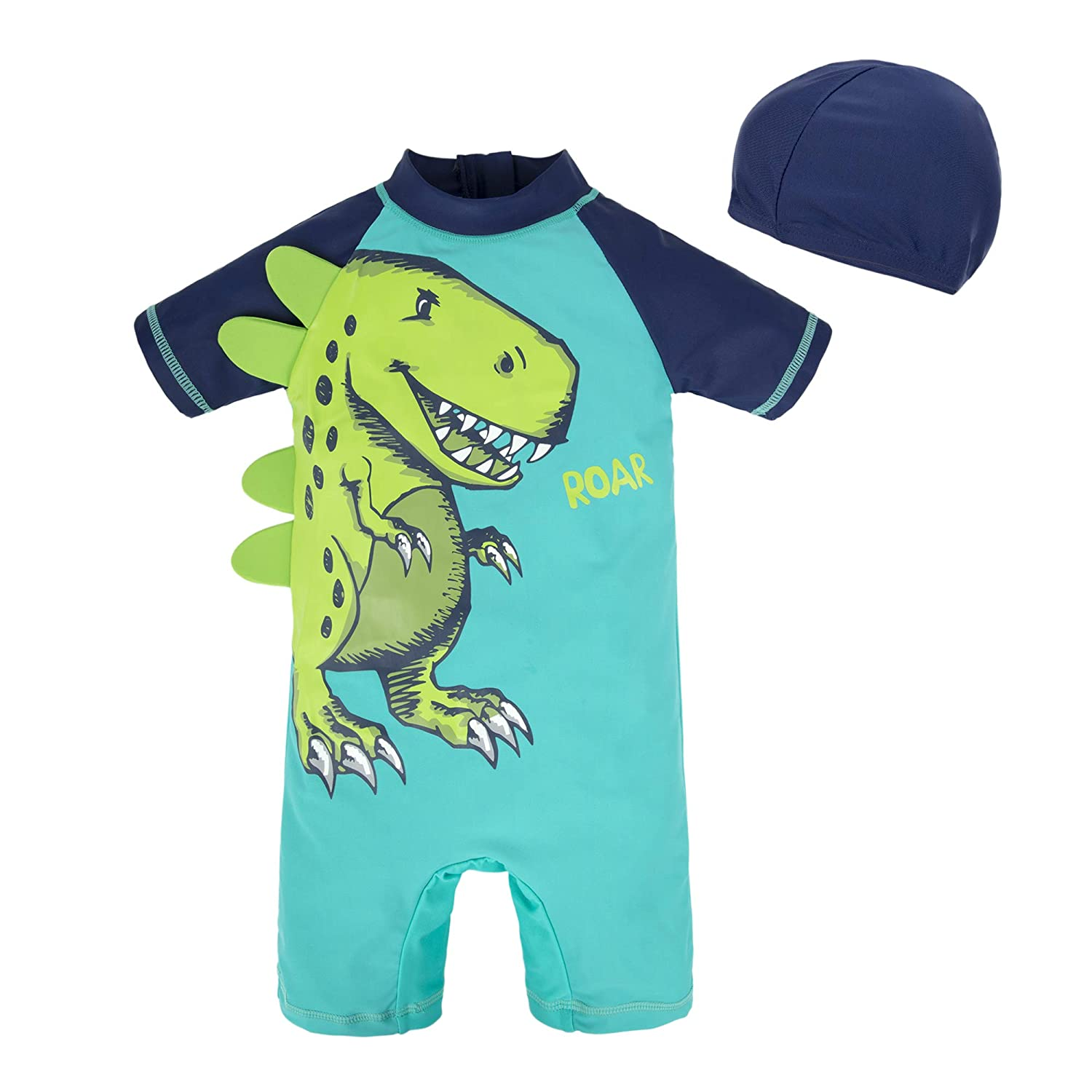 BIG ELEPHANT Kids Baby Boys Anti UV All-in-One Sun Protection Swimming Suit Clothes with Hat Q66