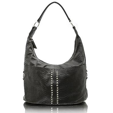 4f8083855d98c Jennifer Jones 3446 Handtasche Damen Shopper Damentasche Henkeltasche  Schultertasche Tasche Nieten grau