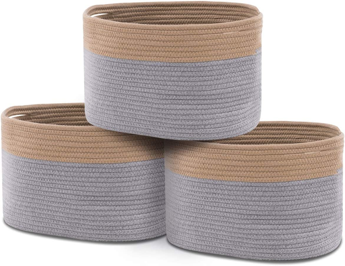 YOUDENOVA Cotton Rope Basket for Organizing, Decorative Woven Bathroom Storage Bins for Clothes, Toys, Books, Towels, Blankets Set of 3, Grey