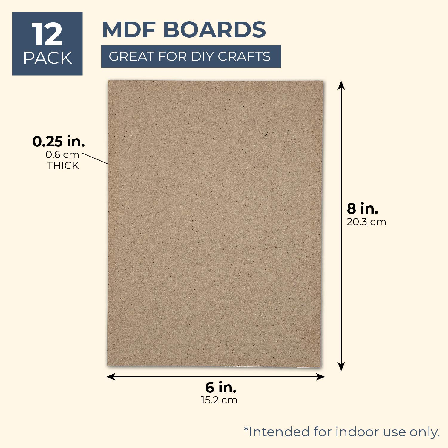 12 Pack 6 x 8 Inches Bright Creations MDF Board