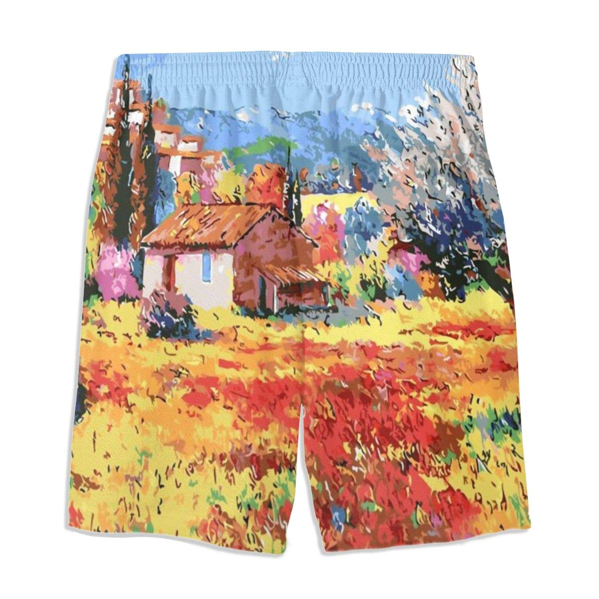 Italian Unique Poppy Fields Art Bathing Suits Teens Quick-Drying Surf Beach Pants Boardshort