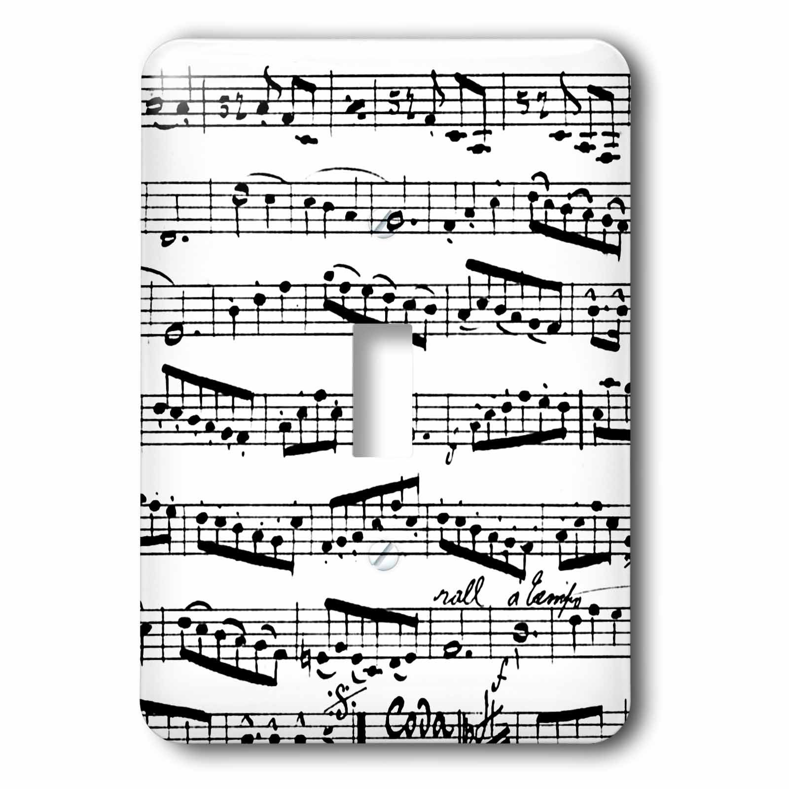3dRose lsp_179702_1 Music Notes Pattern Black and White Piano Sheet Musical Notation Single Toggle Switch