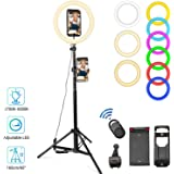 LED Selfie Ring Light with Stand Tripod Phone Holder for iPhone Stick 10 inch Dimmable RGB Ringlight for YouTube Vlog…