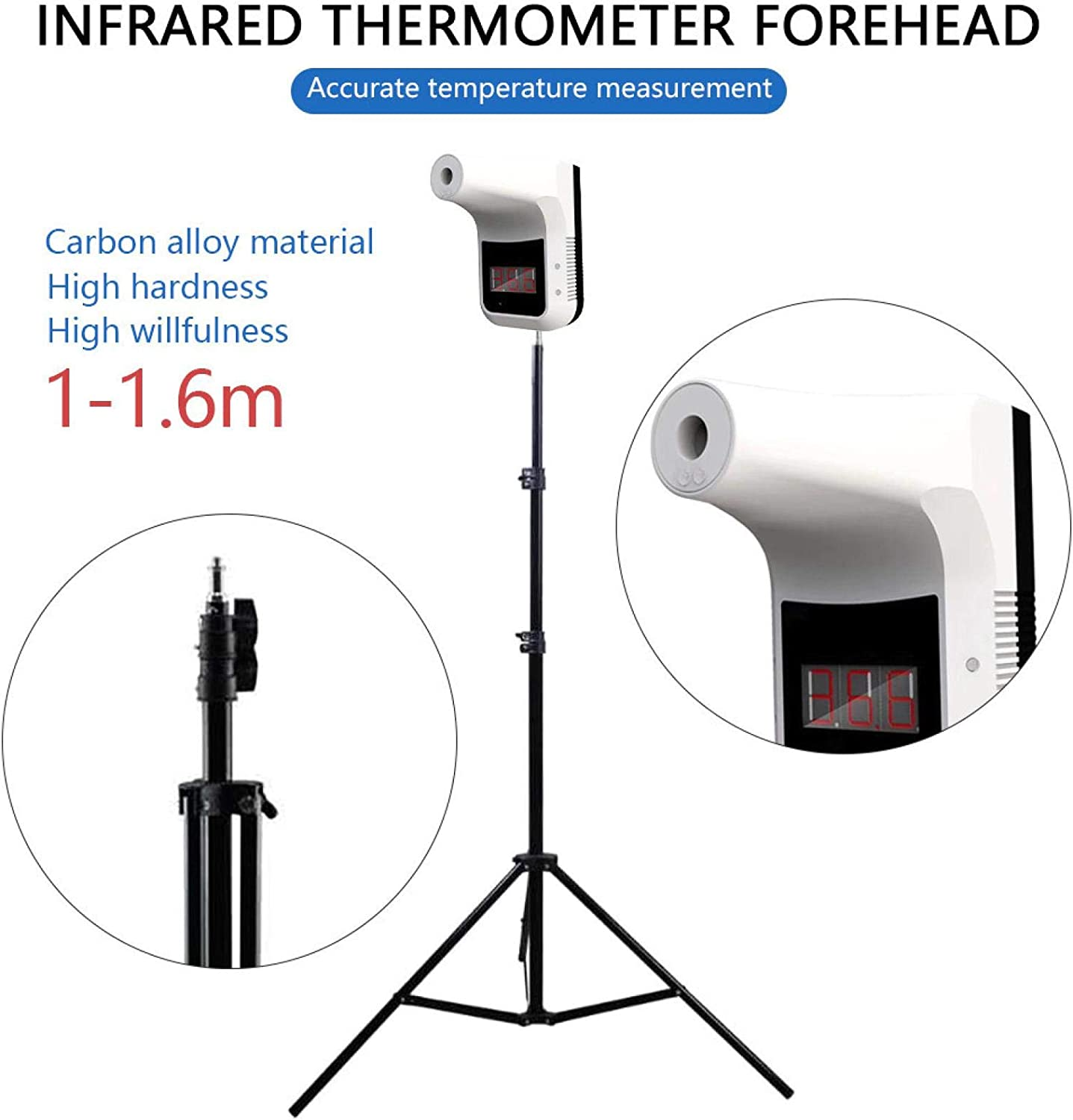 CMrtew Non-Contact Infrared Temperature Measurement with Stand Holder and Battery Digital K3 Forehead Thermometer with Fever Alarm for Office Home Supermarket School Community Thermometer + Bracket