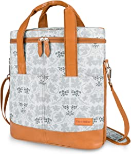 Tirrinia Insulated Wine Carrier - 3 Bottle Travel Padded Wine Carry Cooler Tote Bag with Handle and Adjustable Shoulder Strap, White Flower