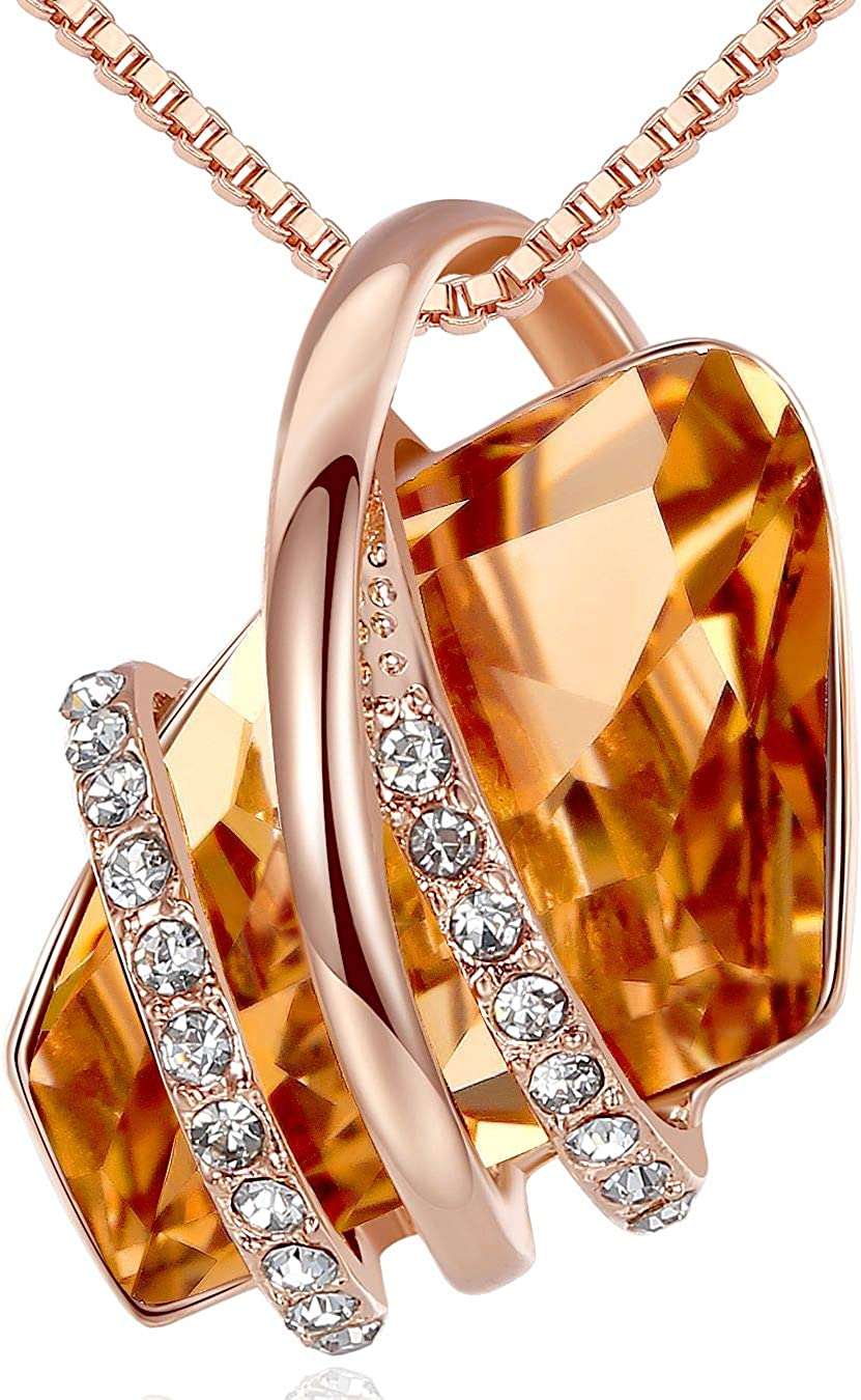 Leafael Wish Stone Pendant Necklace with Birthstone Crystal, 18K Rose Gold Plated/Silvertone, 18
