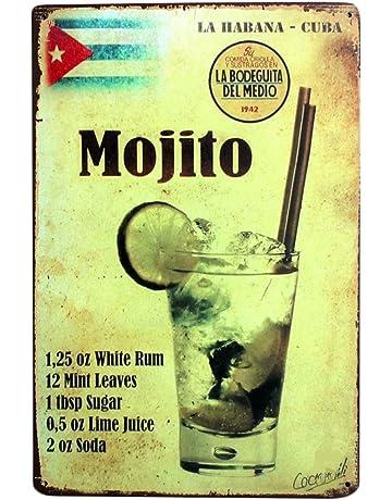 YiKang Retro Style Mojito - Placa de hierro para pared, hogar, oficina, bar