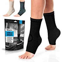 PowerLix Ankle Brace Compression Support Sleeve (Pair) for Injury Recovery, Joint Pain and More. Plantar Fasciitis Foot…