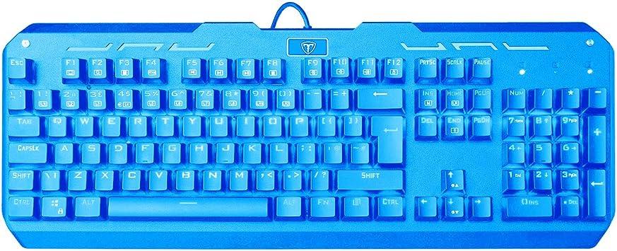 VicTsing teclado mecánico de gaming, Wired Game Keyboard con LED 9 colores retroiluminada, Azul Interruptores – 104 teclas