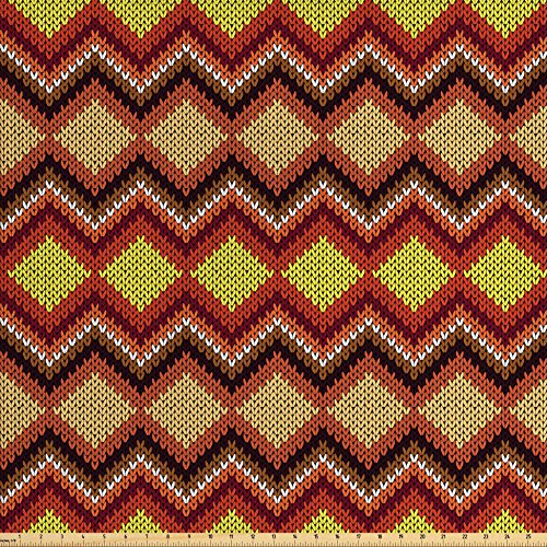 Ambesonne Tan and Brown Fabric by The Yard, Knitting Themed Graphic Pattern with Zigzag Ornamental Chains and Warm Hues, Decorative Fabric for Upholstery and Home Accents, (Zig Zag Knitting Pattern)