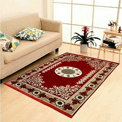 Rinki Home Furnishing Multi Colored Traditional Design Velvet Touch Abstract Chenille Carpet (5*7 Feet)