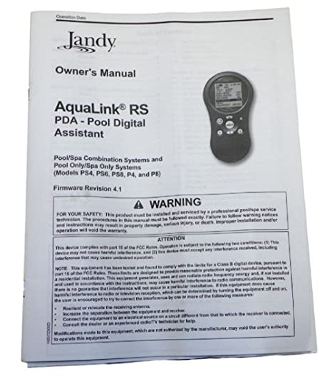 amazon com jandy aqualink rs pda owner s manual firmware revision rh amazon com jandy aqualink rs6 owners manual pdf jandy aqualink rs all button owner's manual