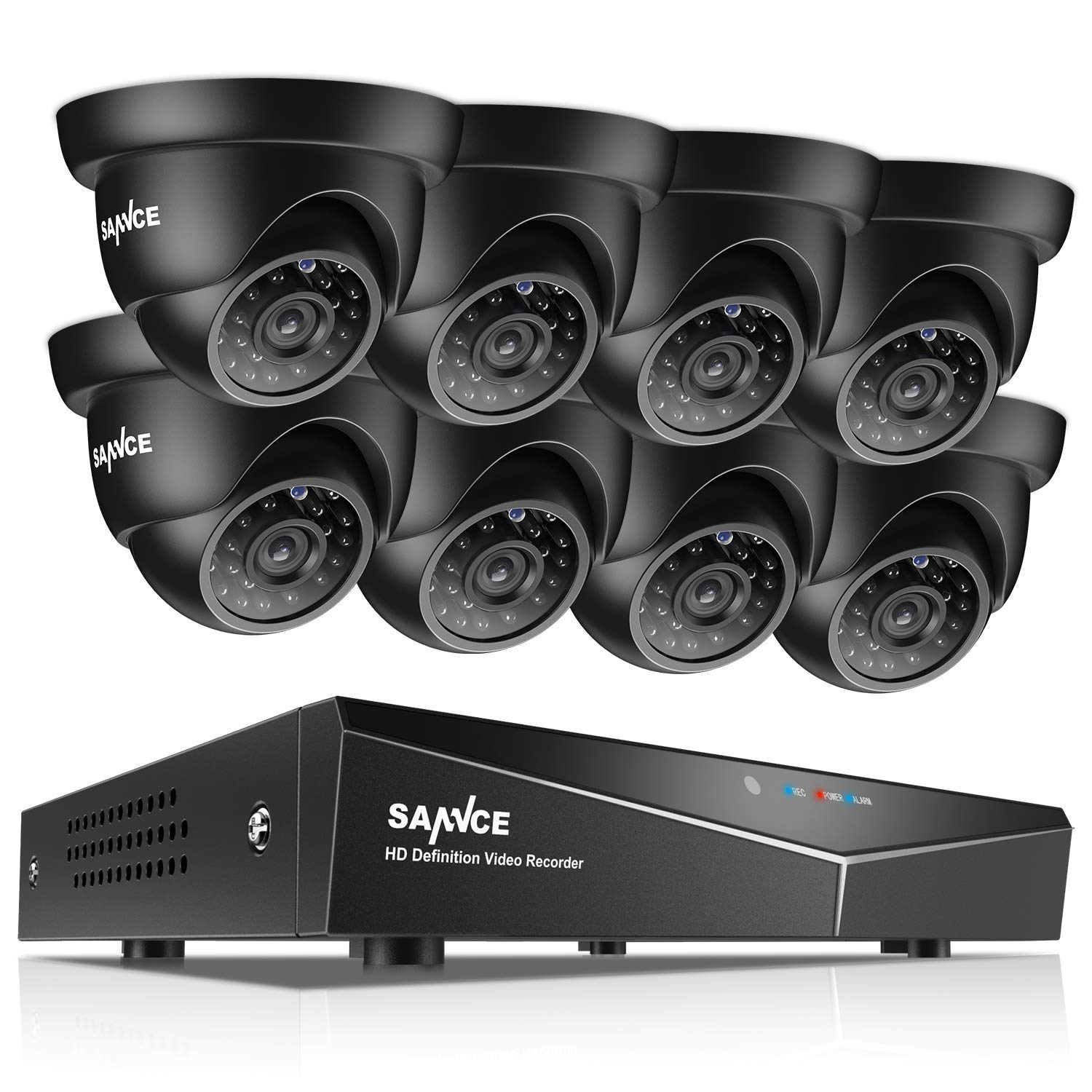 SANNCE 8-Channel HD 1080N Home Security Camera System and 8 720P Indoor Outdoor Weatherproof Cameras with IR Night Vision LEDs, Remote Access – NO HDD