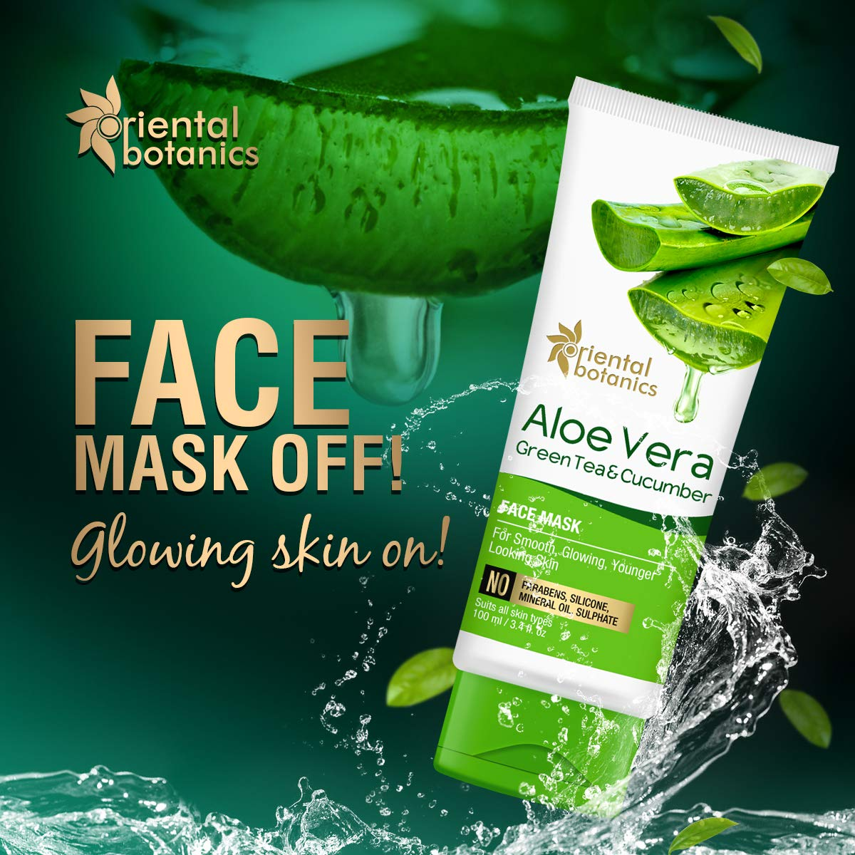 Oriental Botanics Aloe Vera, Green Tea & Cucumber Face Mask - best face pack for fairness
