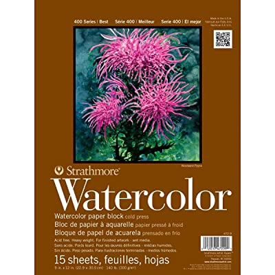 "Strathmore 472-9 400 Series Watercolor Block, Cold Press, 9""x12"" Bound (4 sides), 15 Sheets/Block"