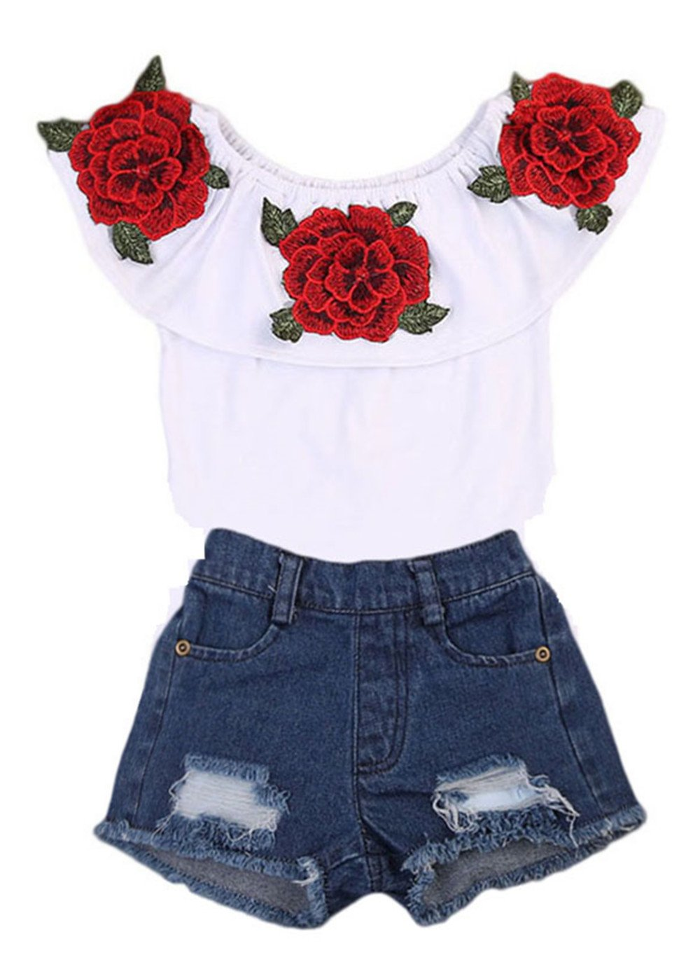 Toddler Kids Baby Girls Floral Flower Ruffle Tops + Hole Denim Shorts Outfits Clothes Aliven