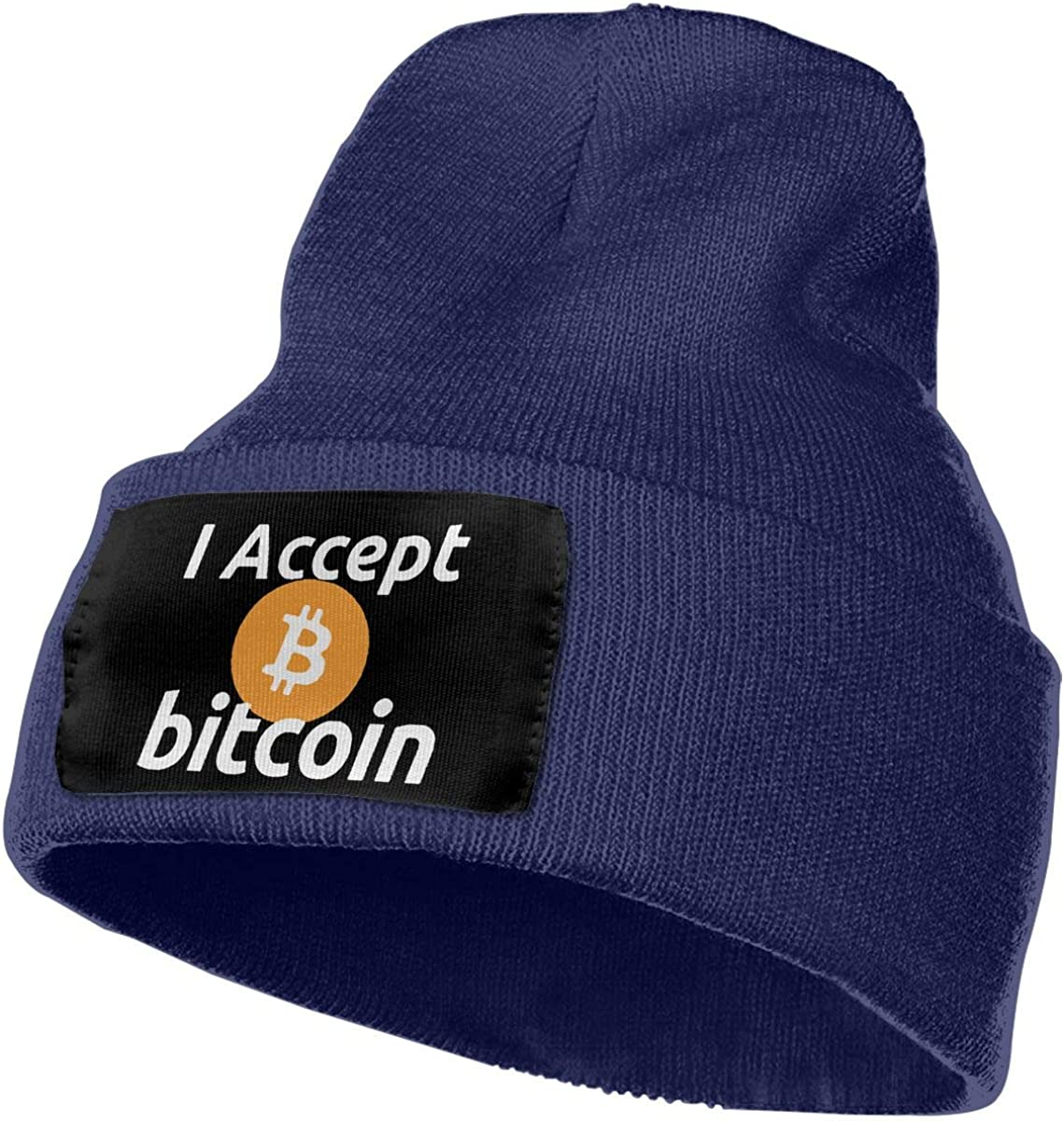 Kalyr YMZ I Accept Bitcoins Warm Slouchy Beanie Hat Knitted Beanie Skully for Men Women