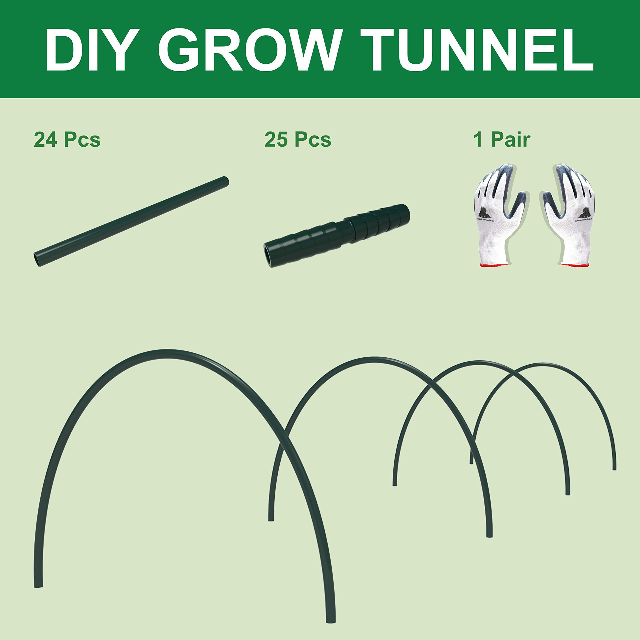 Gardzen DIY Hoops Grow Tunnel Mini Greenhouse, Garden Support Frame