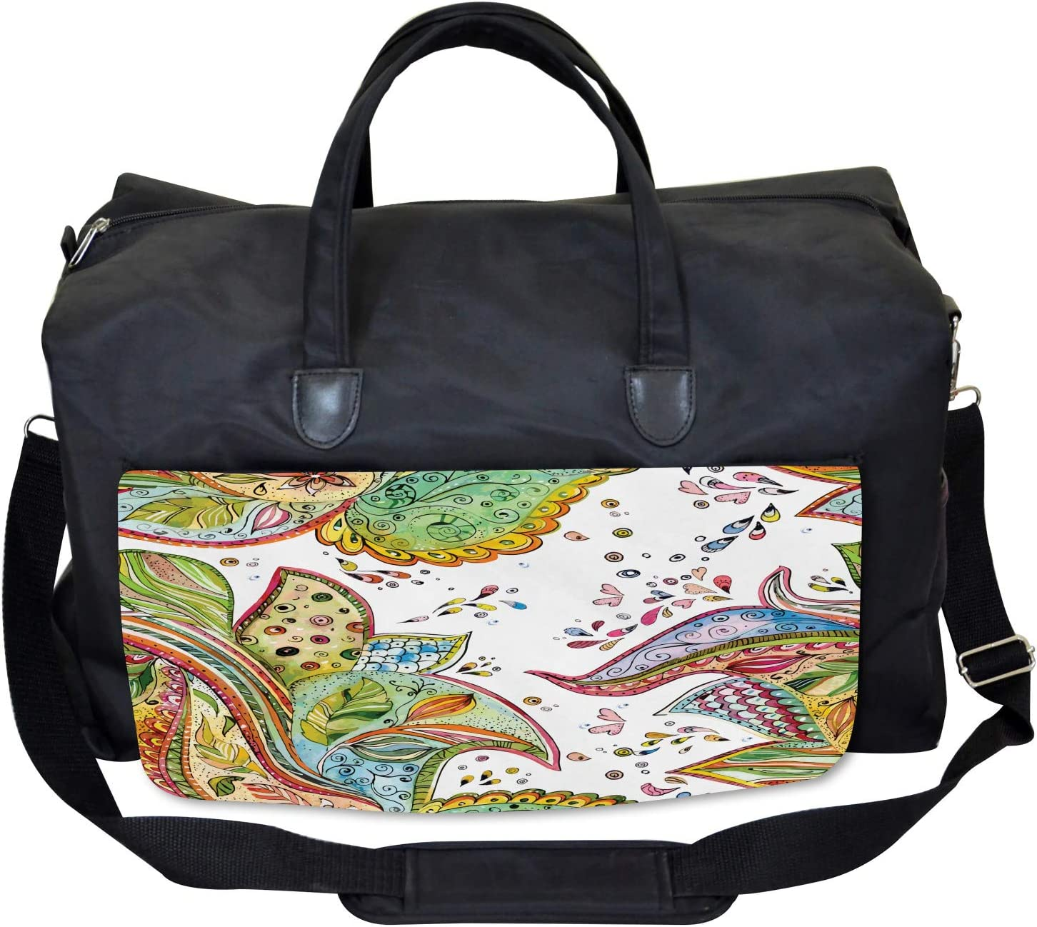 Leaves Flowers Hearts Large Weekender Carry-on Ambesonne Grunge Gym Bag