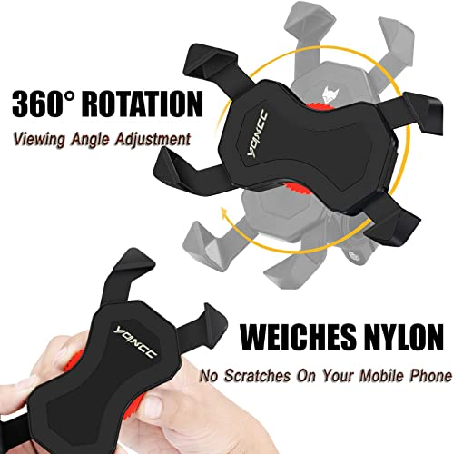 YQXCC Bike Phone Mount Bicycle Holder Bike Accessories Bike Phone Holder 360 Rotation Universal Cradle Clamp for iOS Android Smart Phone Black