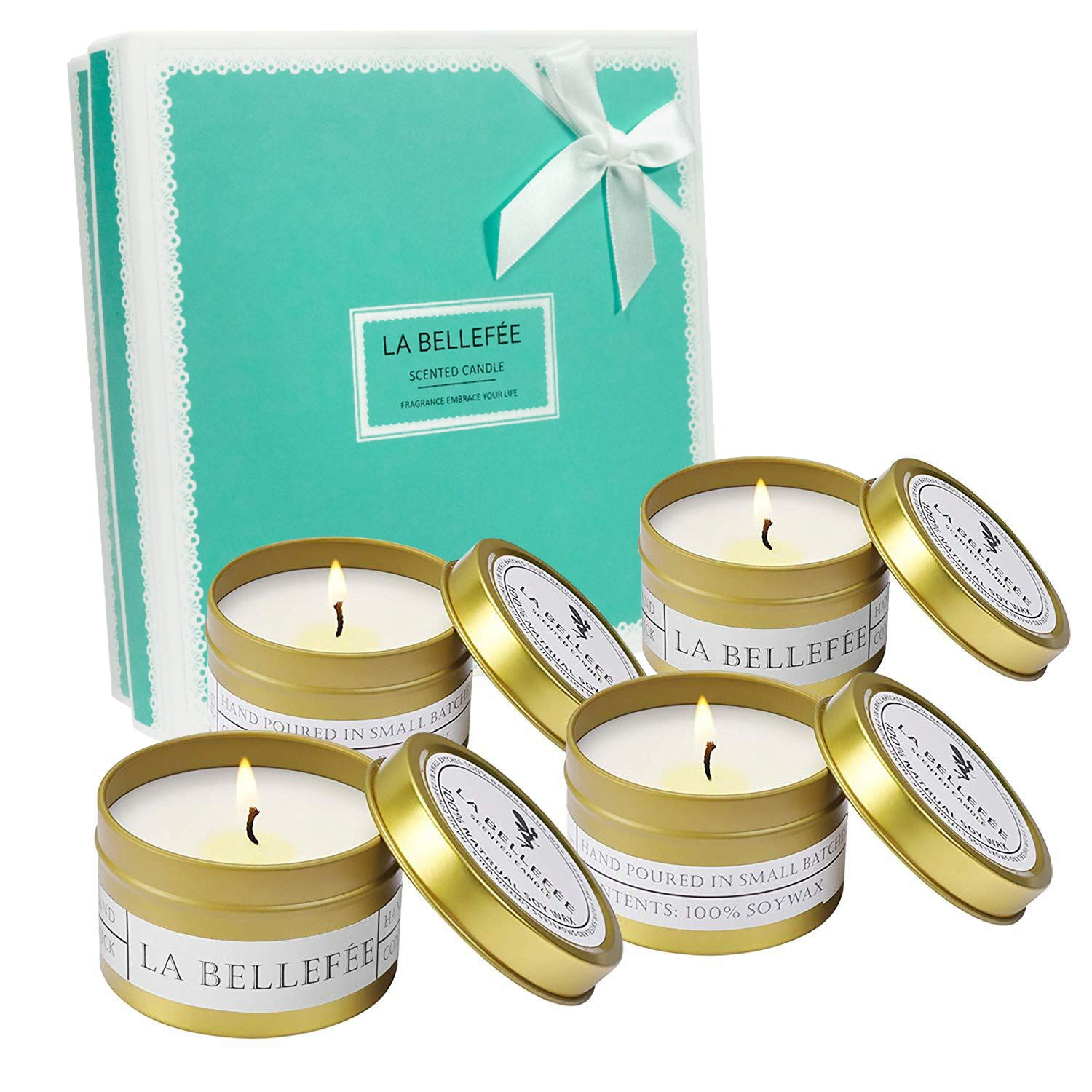 LA BELLEFÉE Scented Candle Soy Wax Travel Tin Aromatherapy Candles Gift Set for Wedding, Festival - Lemongrass Bergamot, Sea Salt Sage, French Lavender Vanilla, Mediterranean Amber - 4 Pack