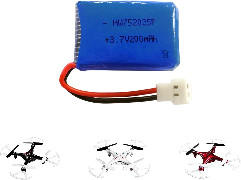 4x 3,7V 200 mAh LiPo Mini Akku LxBxH 2,8x2x0,8 cm Rayline RF2 RF2B RC Drohne