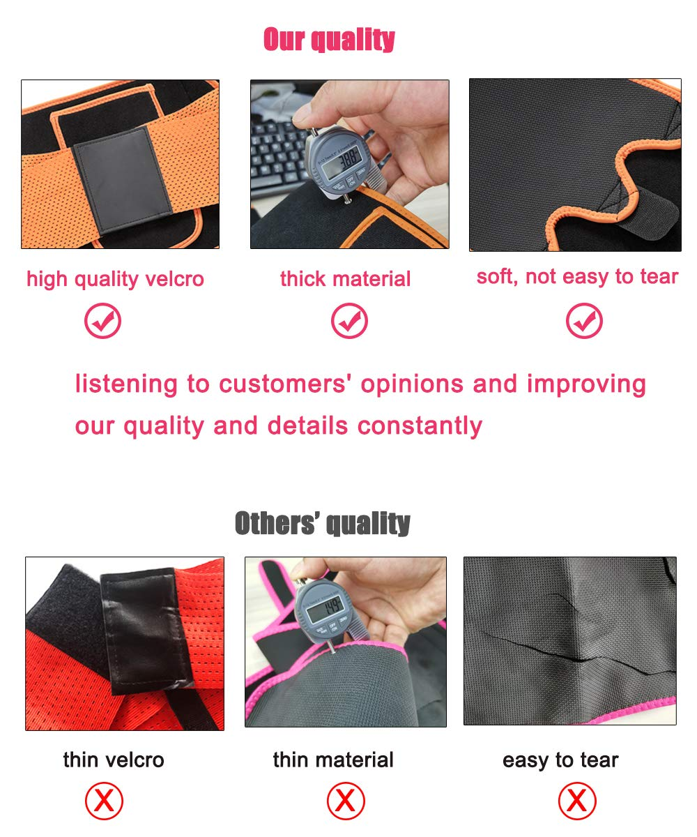 3 in 1 Waist Trainer and Thigh Trimmer Double Compression Belt Leg Support Sweat Sauna Effect Orange, Large//X-Large