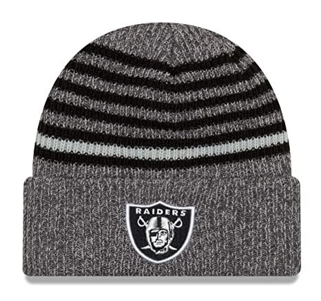 Amazon.com   New Era Oakland Raiders Stripe Strong Cuffed Knit Hat ... 9223b660122