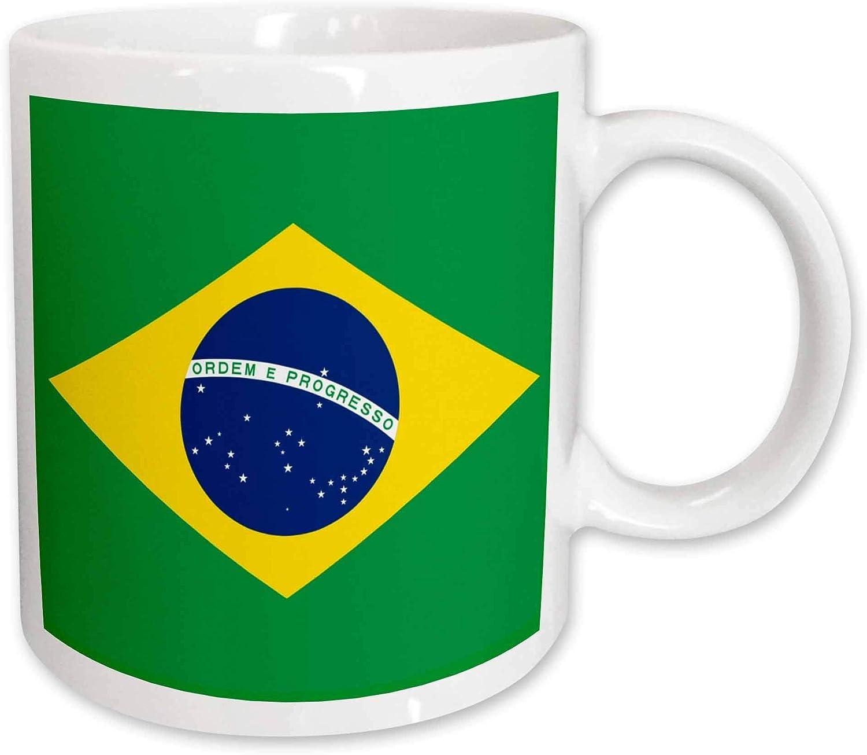 Bandera de Brasil Bandeira Do Brasil Rombo amarillo verde brasileño con círculo azul oscuro 27 estrellas, Taza de café de cerámica Regalo de cumpleaños único del festival 11 oz