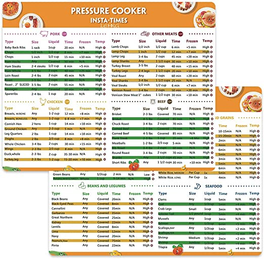 Cooking schedule magnetic cheat sheet food cooking for instant pot accessorie A