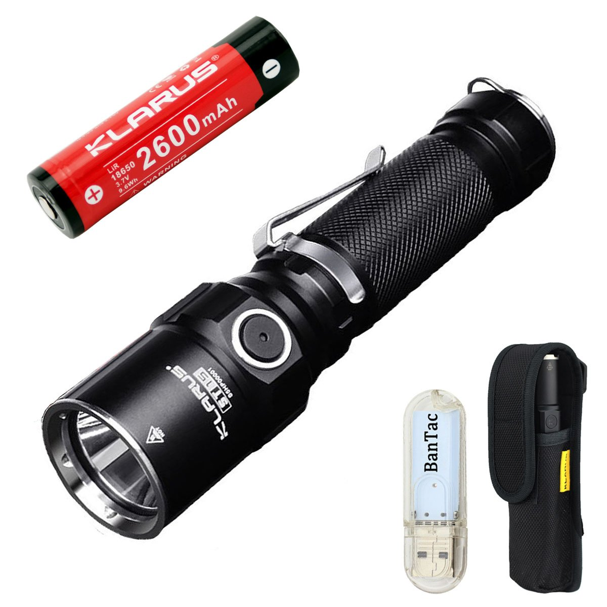 Bundle: Klarus ST15LED Cree XP-L Hi V31100lumens watereproof Lampe torche avec batterie rechargeable 18650et thenines USB Lumière