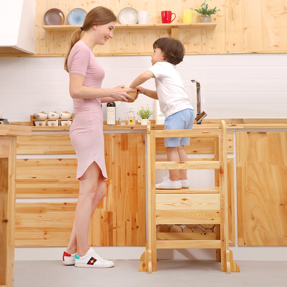 UNICOO- Height Adjustable Kids Learning Stool, Kids Kitchen Step Stool, Toddler Stool with Safety Rail-Solid Hardwood Construction. Perfect for Toddlers (Burlywood-02) by UNICOO (Image #2)