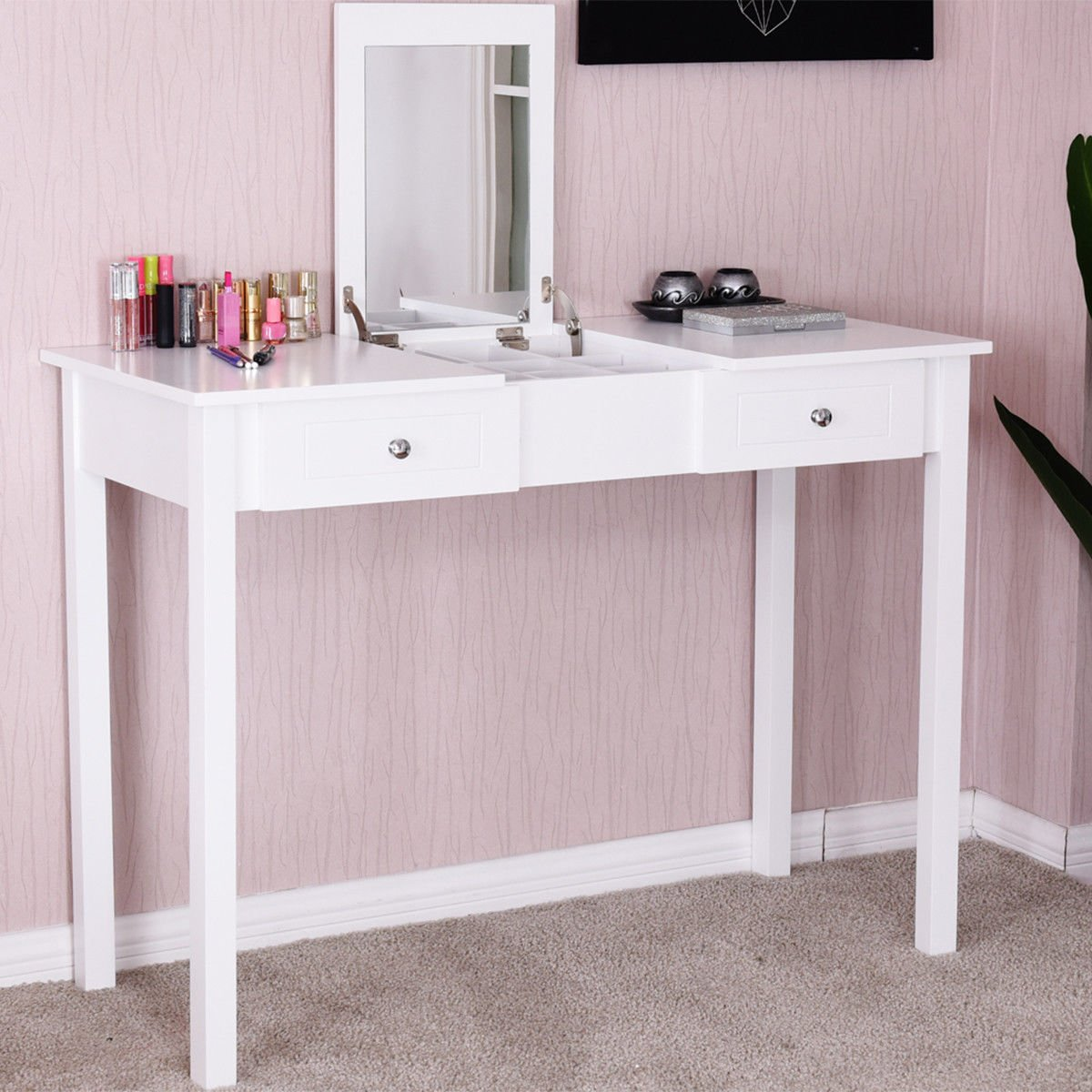 Giantex Vanity Table with Flip Top Mirror with 2 Drawers 1 Removable Organizer Dressing Table Vanity Table, White