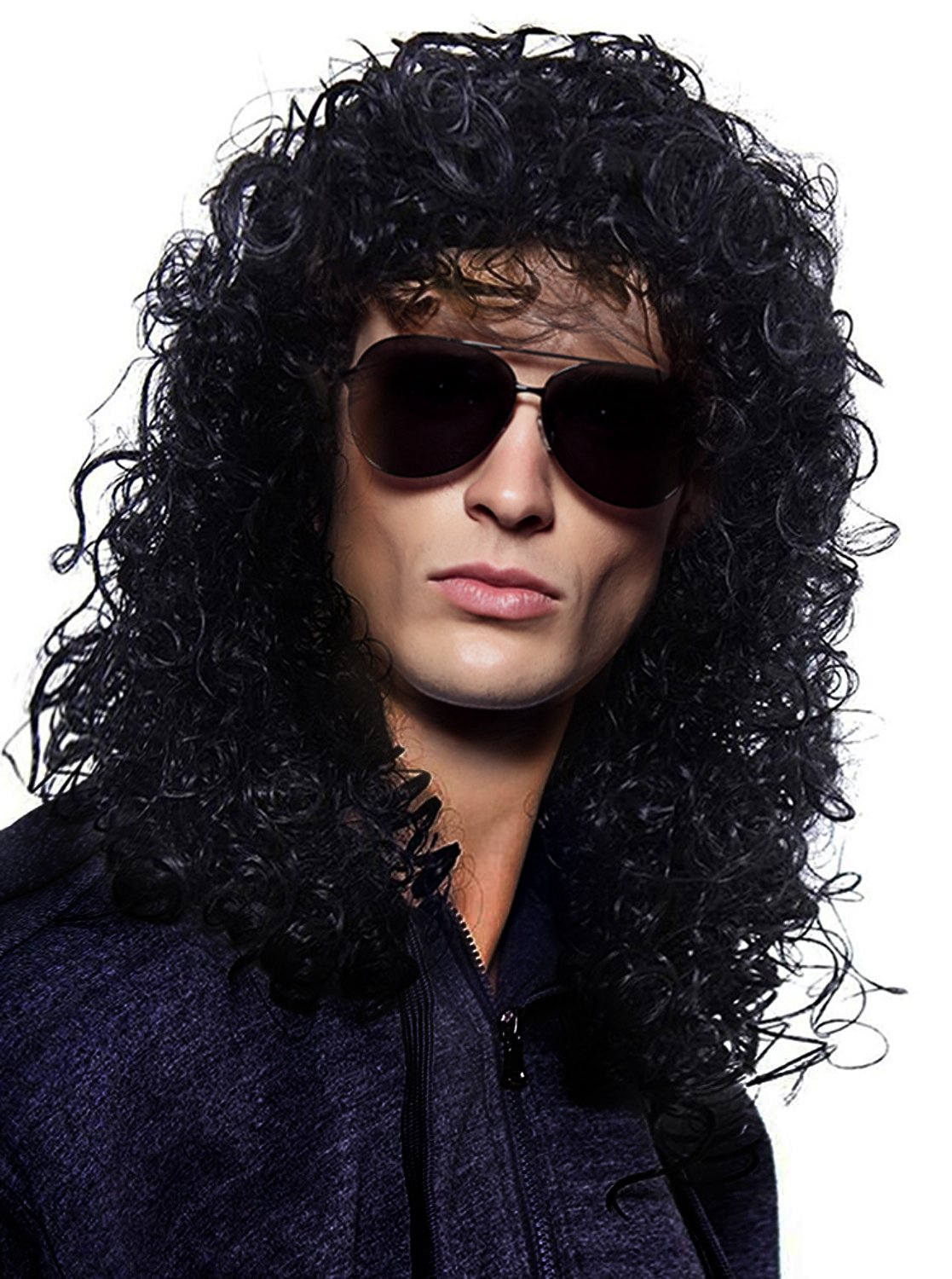 YoungLove Men's Costume Hair Accessory Heavy Metal Rocker Cosplay Long Curly Black Wig