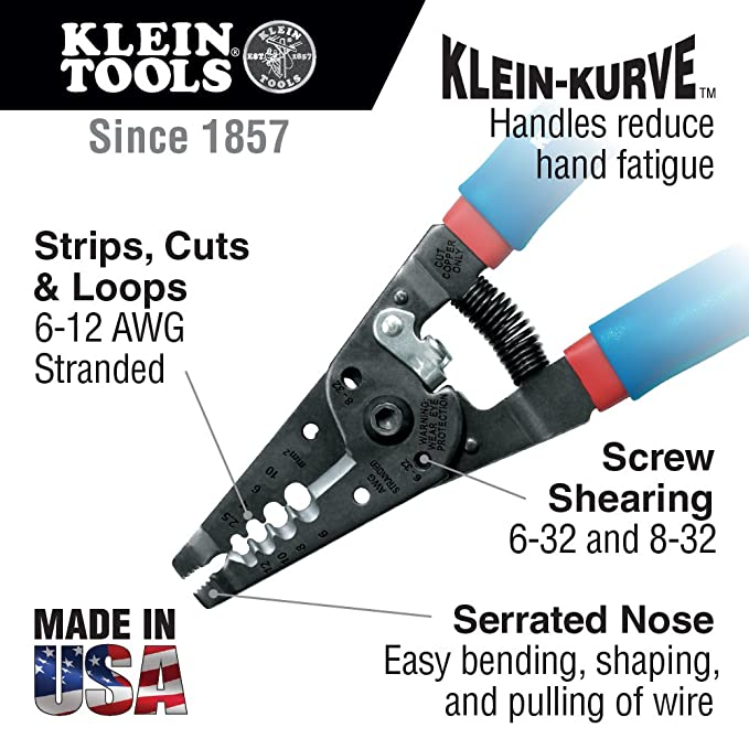 Klein Tools 11053 Wire Stripper and Cutter for 6-12 AWG Stranded ...