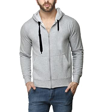 1d5cf38d608b Scott International Men's Rich Cotton Pullover Hoodie Sweatshirt with Zip -  Grey